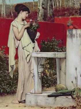 Woman with a Vase of Flowers by Sir Lawrence Alma-Tadema