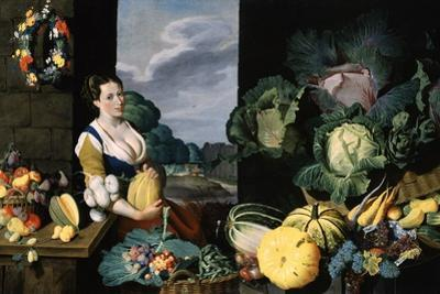Cookmaid with Still Life of Vegetables and Fruit by Sir Nathaniel Bacon