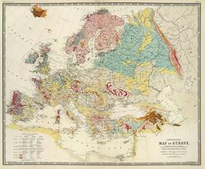 Geological Map of Europe, c.1856 by Sir Roderick Impey Murchison