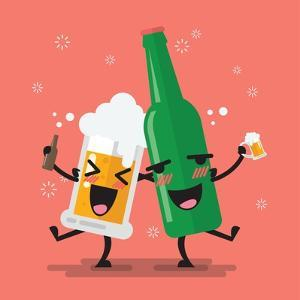 Drunk Beer Glass and Bottle Character. Vector Illustration by Sira Anamwong
