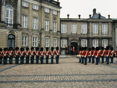 The Parading of the Guards at Amalienborg Palace in Copenhagen