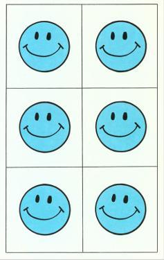 Six Blue Happy Faces