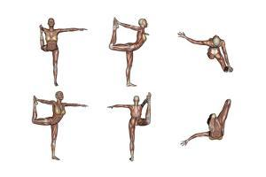 Six Different Views of Dancer Yoga Pose Showing Female Musculature