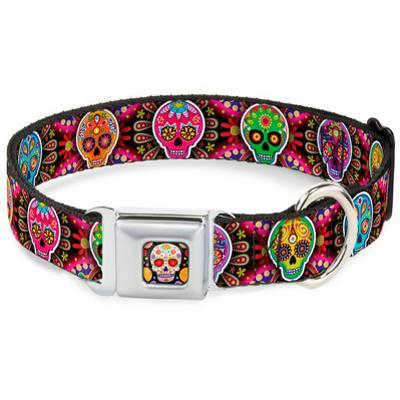 Six Sugar Multi Skulls Dog Collar