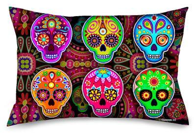 Six Sugar Multi Skulls Standard Pillowcase