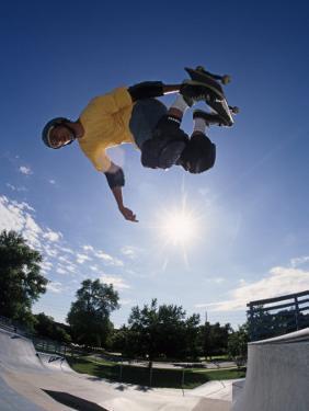 Skateboarder in Action on the Vert