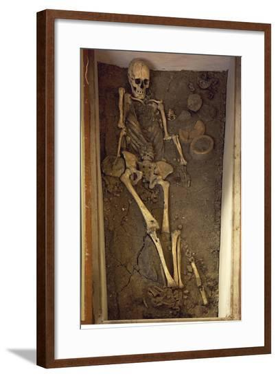 Skeleton and Funerary Objects Found in a Burial Site--Framed Giclee Print