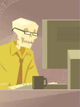 Skeleton at Desk in Office