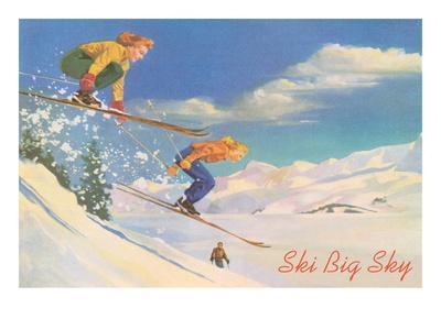 POSTER 1948 WINTER SPORT PARK CITY UTAH SKIING COUPLE SKI VINTAGE REPRO FREE S//H