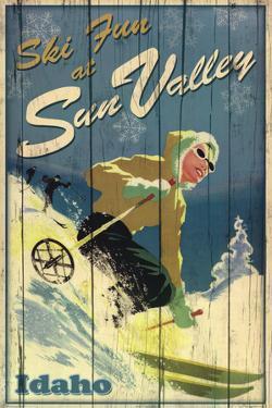 Ski Fun at Sun Valley Idaho Art Print Poster