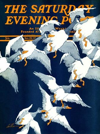 """""""Flying South,"""" Saturday Evening Post Cover, November 20, 1937"""