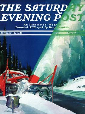 """""""Highway Snowplow,"""" Saturday Evening Post Cover, January 18, 1941 by Ski Weld"""