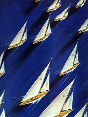 """""""Sailboat Regatta,"""" June 29, 1940 by Ski Weld"""
