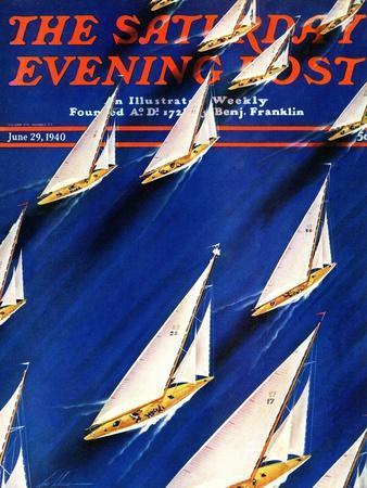 """Sailboat Regatta,"" Saturday Evening Post Cover, June 29, 1940"