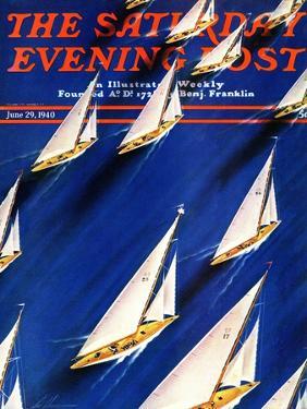 """Sailboat Regatta,"" Saturday Evening Post Cover, June 29, 1940 by Ski Weld"