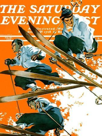 """""""Ski Jumpers,"""" Saturday Evening Post Cover, February 26, 1938"""