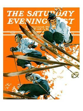 """Ski Jumpers,"" Saturday Evening Post Cover, February 26, 1938 by Ski Weld"