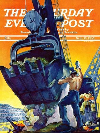 """Steam Shovel,"" Saturday Evening Post Cover, September 17, 1938"