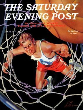 """""""Two Points,"""" Saturday Evening Post Cover, January 24, 1942 by Ski Weld"""