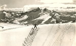 Skier Doing Herring-Bone Uphill