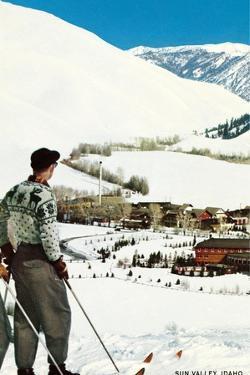 Skier Looking over Sun Valley Resort