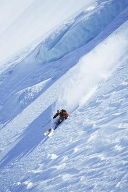 Skier on Steep Slope, Elevated View
