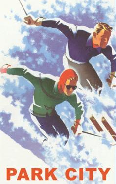 Skiers in Powder, Park City, Utah