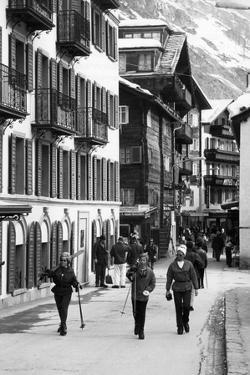 Skiers in Zermatt Town