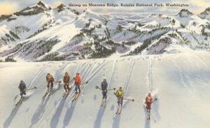 Skiing on Mazama Ridge, Rainier National Park, Washington