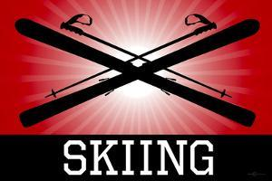 Skiing Red Sports Plastic Sign