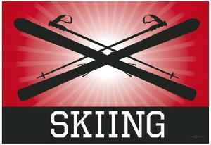 Skiing Red Sports Poster Print
