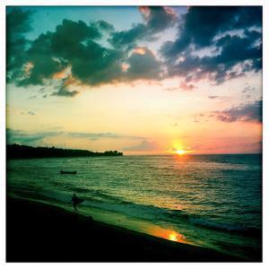 A Surfer Heading Home at Sunset on Shacks Beach Near Aquadilla, Puerto Rico by Skip Brown