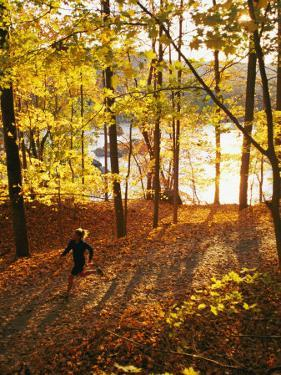 A Woman Jogs Through a Wooded Area in Low Sunlight by Skip Brown
