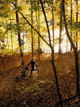 A Woman Pushes a Baby Stroller as She Jogs Through a Wooded Area by Skip Brown