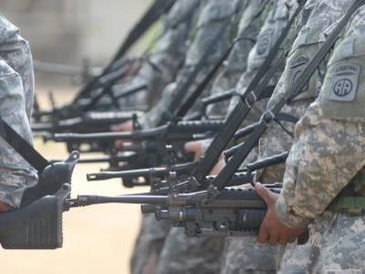 Army Rangers Marching in Formation with Weapons
