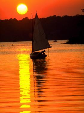 Catboat on the Chesapeake Bay at Sunset by Skip Brown