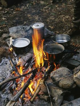 Cooking over a Campfire on the Middle Fork of the Feather River by Skip Brown