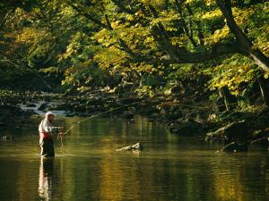 Fly Fisherman Casts his Line into the Elk River by Skip Brown