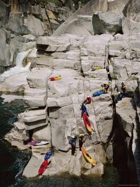 Kayakers Portaging Unrunnable Waterfall in Bald Rock Canyon by Skip Brown