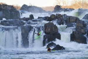 Kayakers Running Great Falls of the Potomac River by Skip Brown