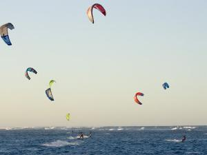 Kiteboarders at Cabarete by Skip Brown