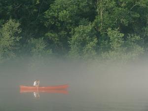Man Paddling Canoe in Mist, Roanoke River, North Carolina by Skip Brown