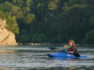 Mother and Child Kayaking on the Potomac River by Skip Brown