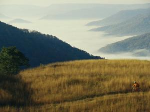 Mountain Biking Through Fields Above Fog-Shrouded Elk River Valley by Skip Brown