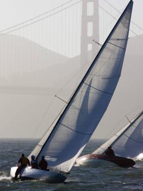 Sailboats Race on San Francisco Bay with the Golden Gate Bridge, San Francisco Bay, California by Skip Brown