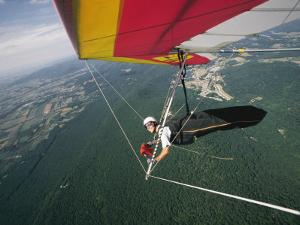 View of a Hang-Glider from a Wing-Mounted Camera as He Flies over Cumberland Valley by Skip Brown