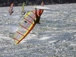 Wind Surfer Gets Upside Down on the Columbia River by Skip Brown
