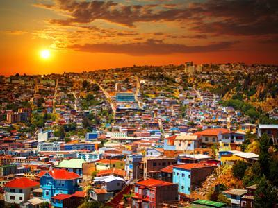 Colorful Buildings on the Hills of the UNESCO World Heritage City of Valparaiso, Chile by Skreidzeleu