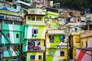 Colorful Painted Buildings of Favela in Rio De Janeiro Brazil by Skreidzeleu