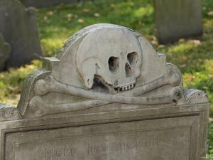 Skull and Crossbones on a Gravestone in the Old Granary Burying Ground, Boston, Massachusetts